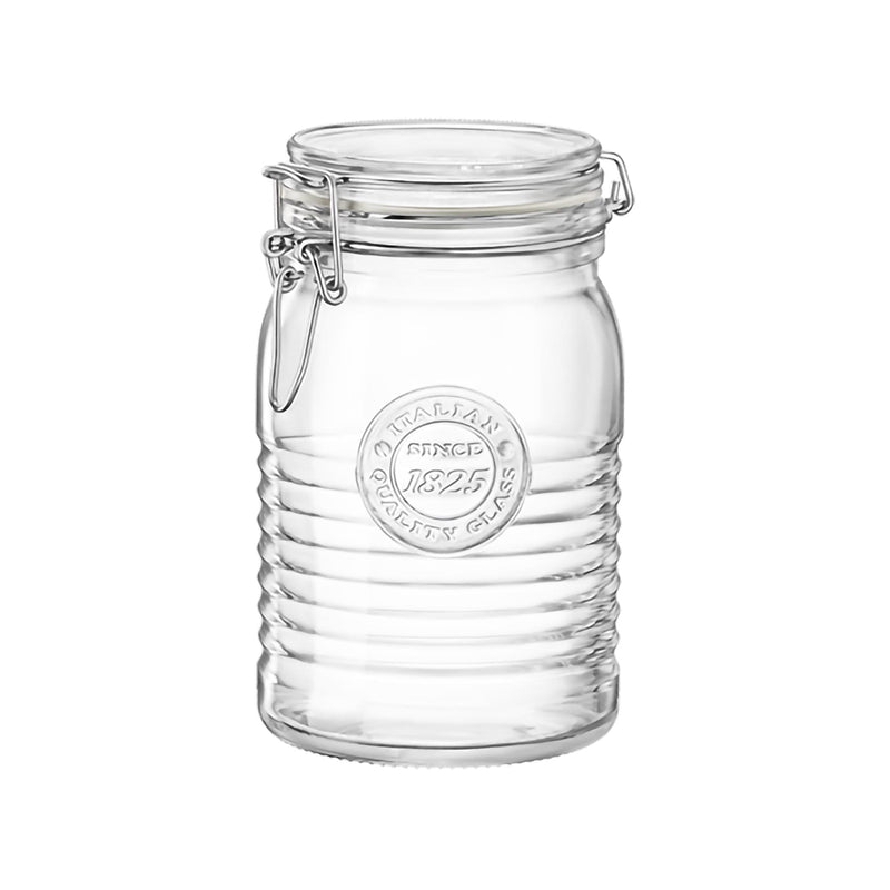Bormioli Rocco Officina 1825 Glass Storage Jar with Airtight Clip Lid - 1 Litre - 1 Litre