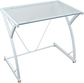 Harbour Housewares Classic Glass Computer Desk - White