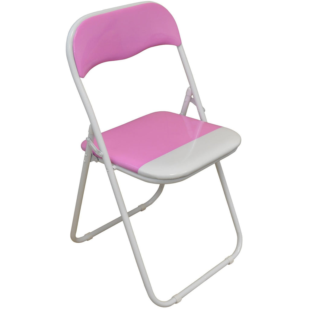 Harbour Housewares Pink / White Padded, Folding, Desk Chair