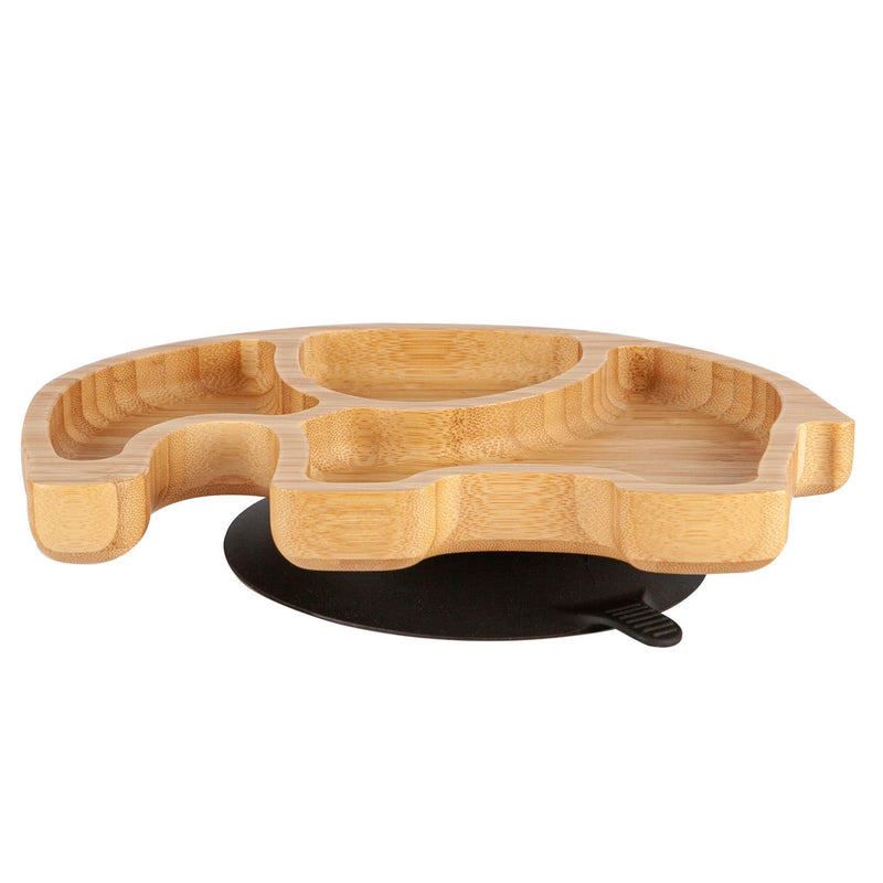 Tiny Dining Children's Bamboo Elephant Plate with Suction Cup - Black
