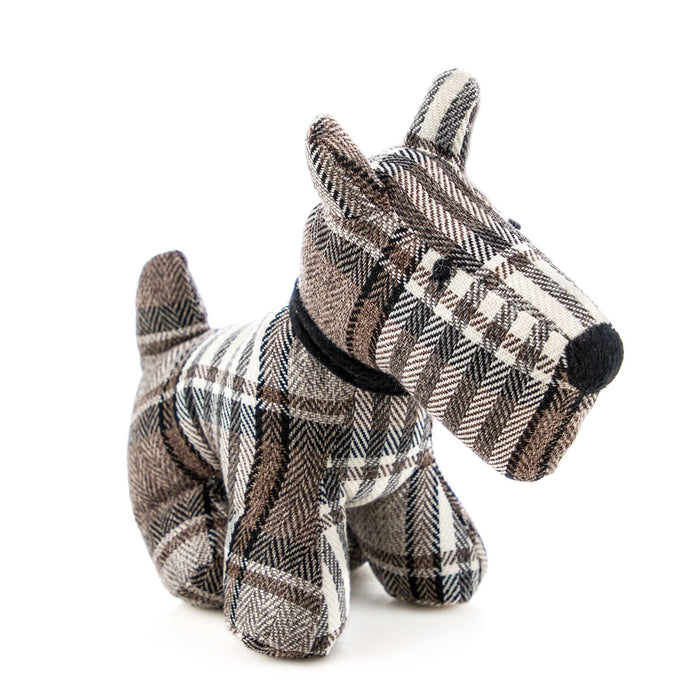 Nicola Spring Bentley the Dog Fabric Household Door Stop - Brown Tartan