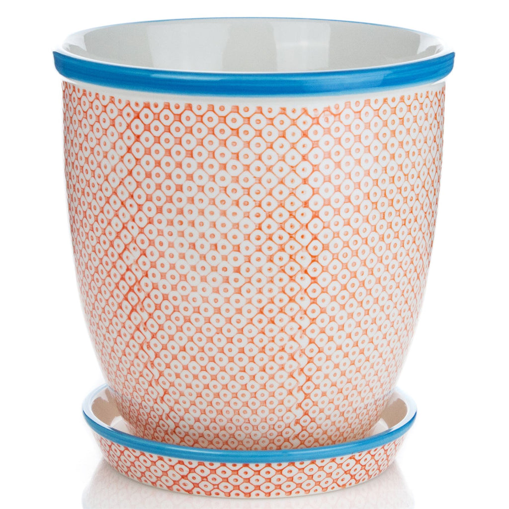 Nicola Spring Hand-Printed Japanese China Flower Pot with Drip Tray - Orange / Blue - 203mm