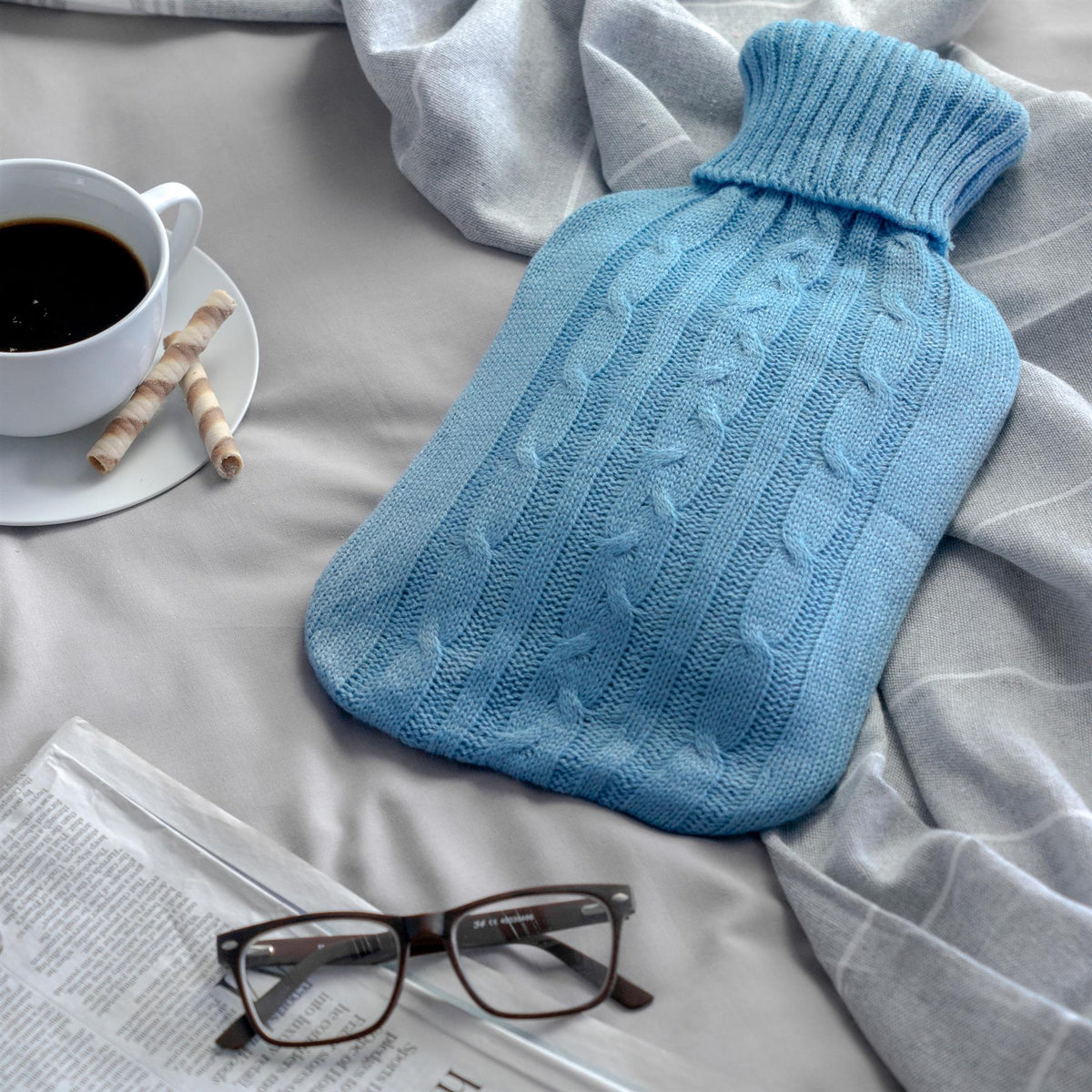Harbour Housewares Knitted Hot Water Bottle - Baby Blue