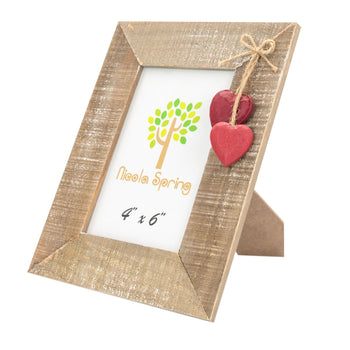Nicola Spring Wooden Picture Frame - 4x6 - Natural with Red Hearts