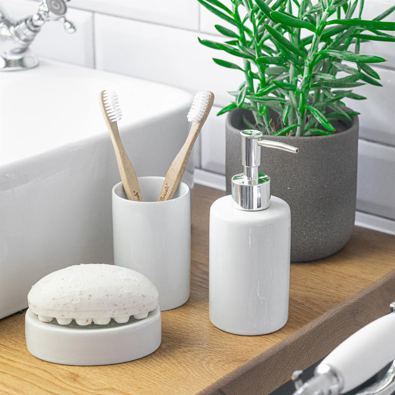 Harbour Housewares Ceramic Toothbrush Holder - White