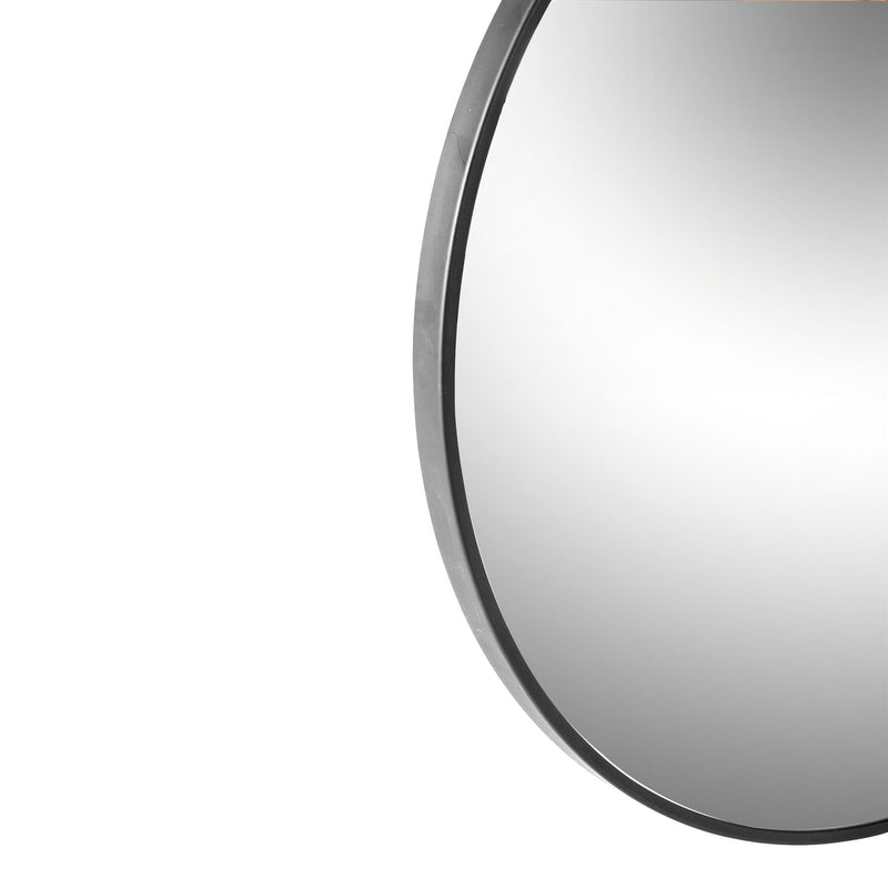 Harbour Housewares Round Framed Wall Mirror - 80cm - Silver