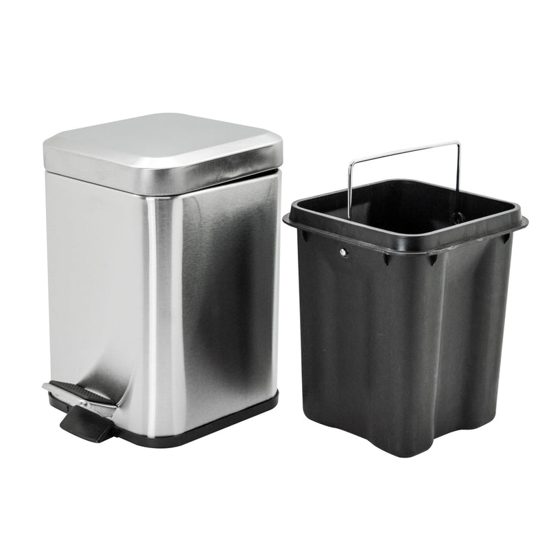 Harbour Housewares Square Steel Bathroom Pedal Bin - 3 Litres
