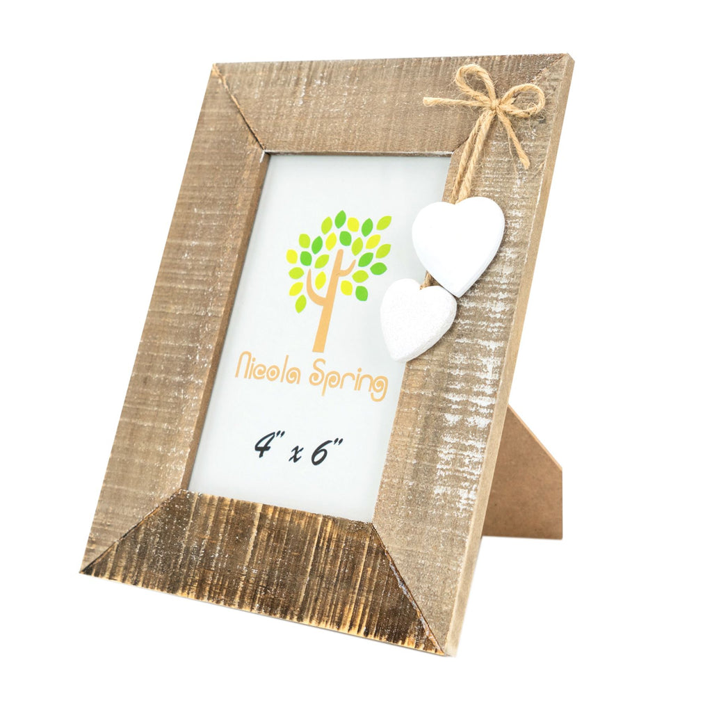 Nicola Spring Wooden Picture Frame - 4x6 - Natural with White Hearts
