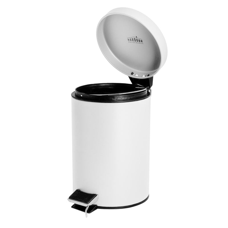 Harbour Housewares 3 Litre Bathroom Pedal Bin With Inner Bucket - White Matt