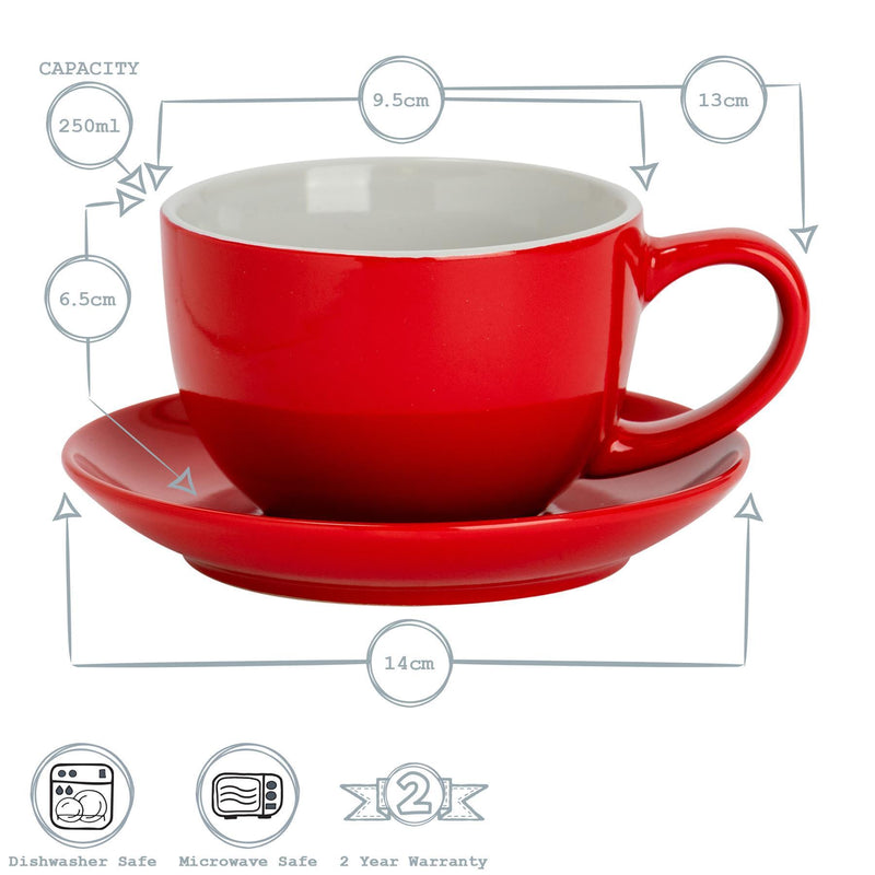 Argon Tableware Coloured Cappuccino Cup - Red - 250ml Dimensions