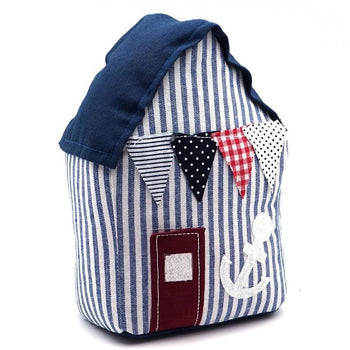 Nicola Spring Fabric Door Stopper - Blue Beach Hut