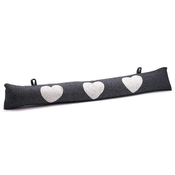 Nicola Spring Fabric Draught Excluder - Grey Herringbone with Hearts