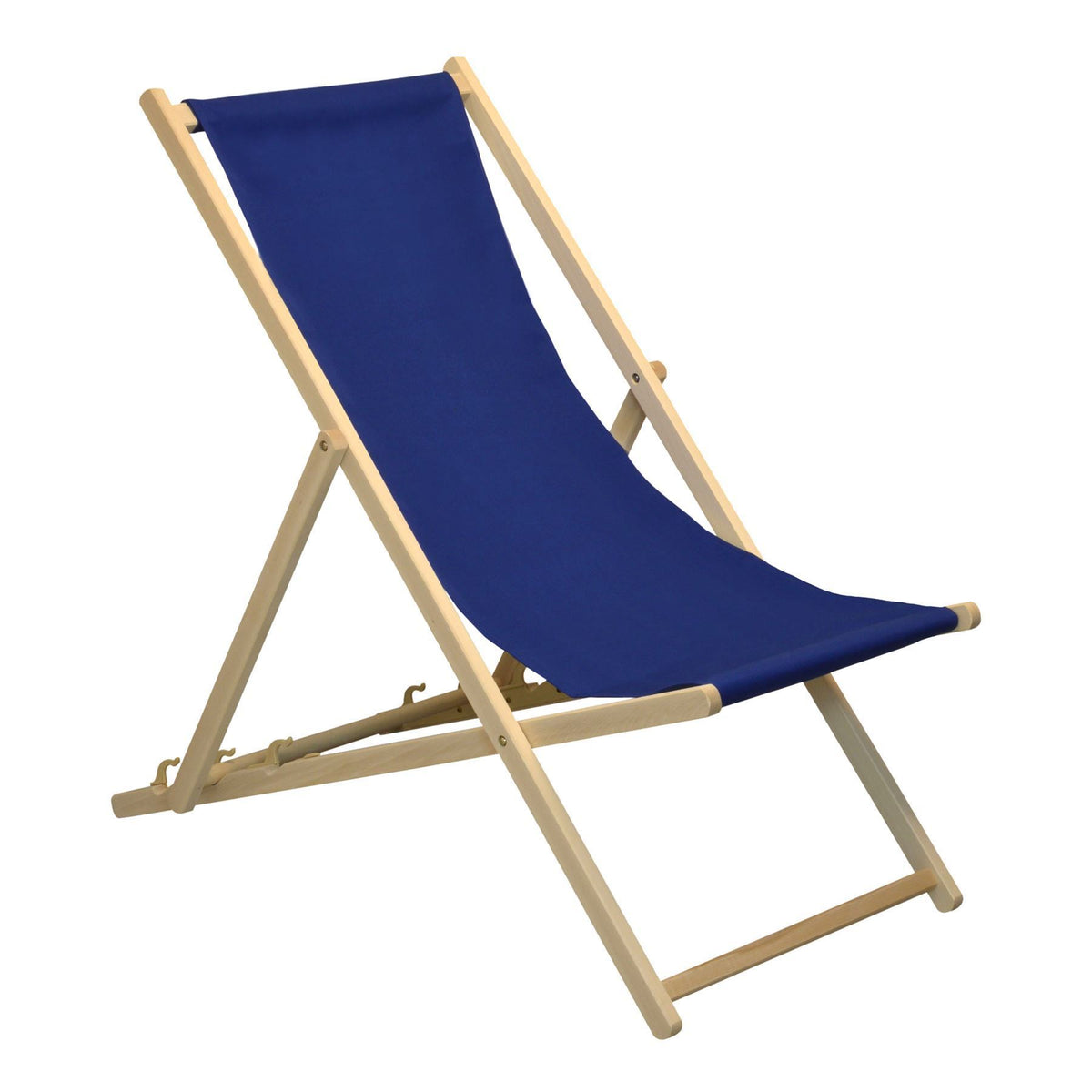 Ideal for the garden the Harbour Housewares Beach Deck Chair - Navy Blue