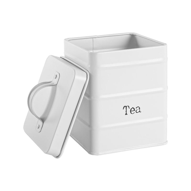 Harbour Housewares Vintage Tea Storage Canister - Matte White