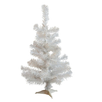 Harbour Housewares Artificial Pine Christmas Tree With Stand - White - 2ft
