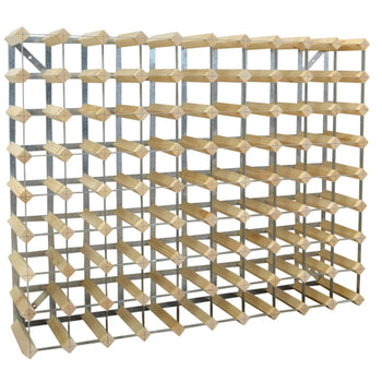 Harbour Housewares 90 Bottle Wine Rack - Fully Assembled - Light Wood