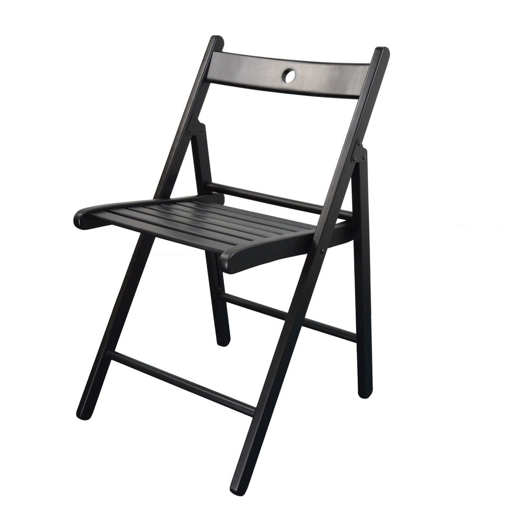 Harbour Housewares Beech Wooden Folding Chair - Black Wood