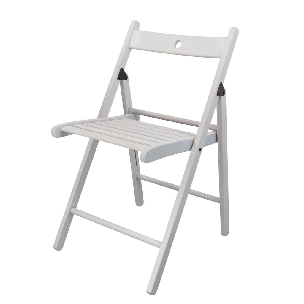 Harbour Housewares Beech Wooden Folding Chair - White Wood