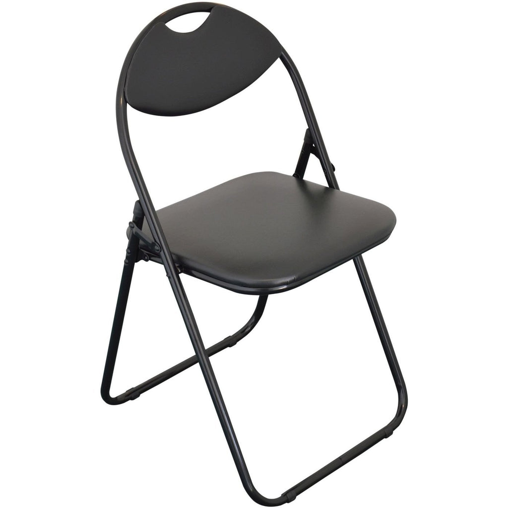 Harbour Housewares Padded Folding Chair - Black Seat and Frame