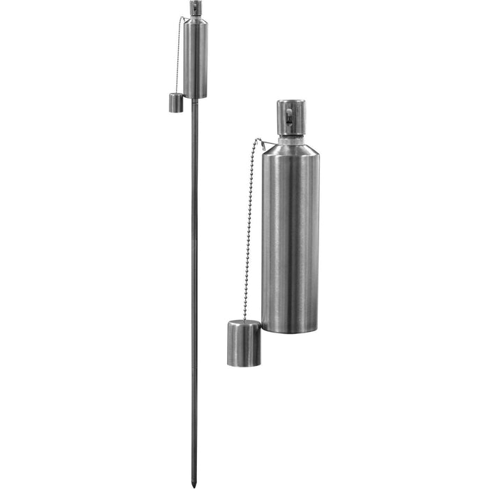 Harbour Housewares Outdoor Fire Torches - Silver - Barrel Design