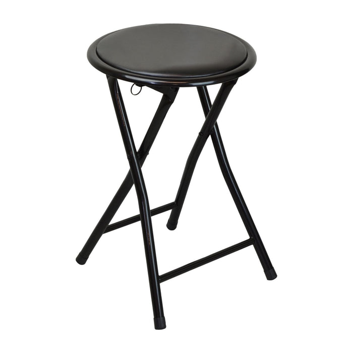 Harbour Housewares Round Compact Folding Stool - Black