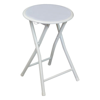 Harbour Housewares Round Compact Folding Stool - White