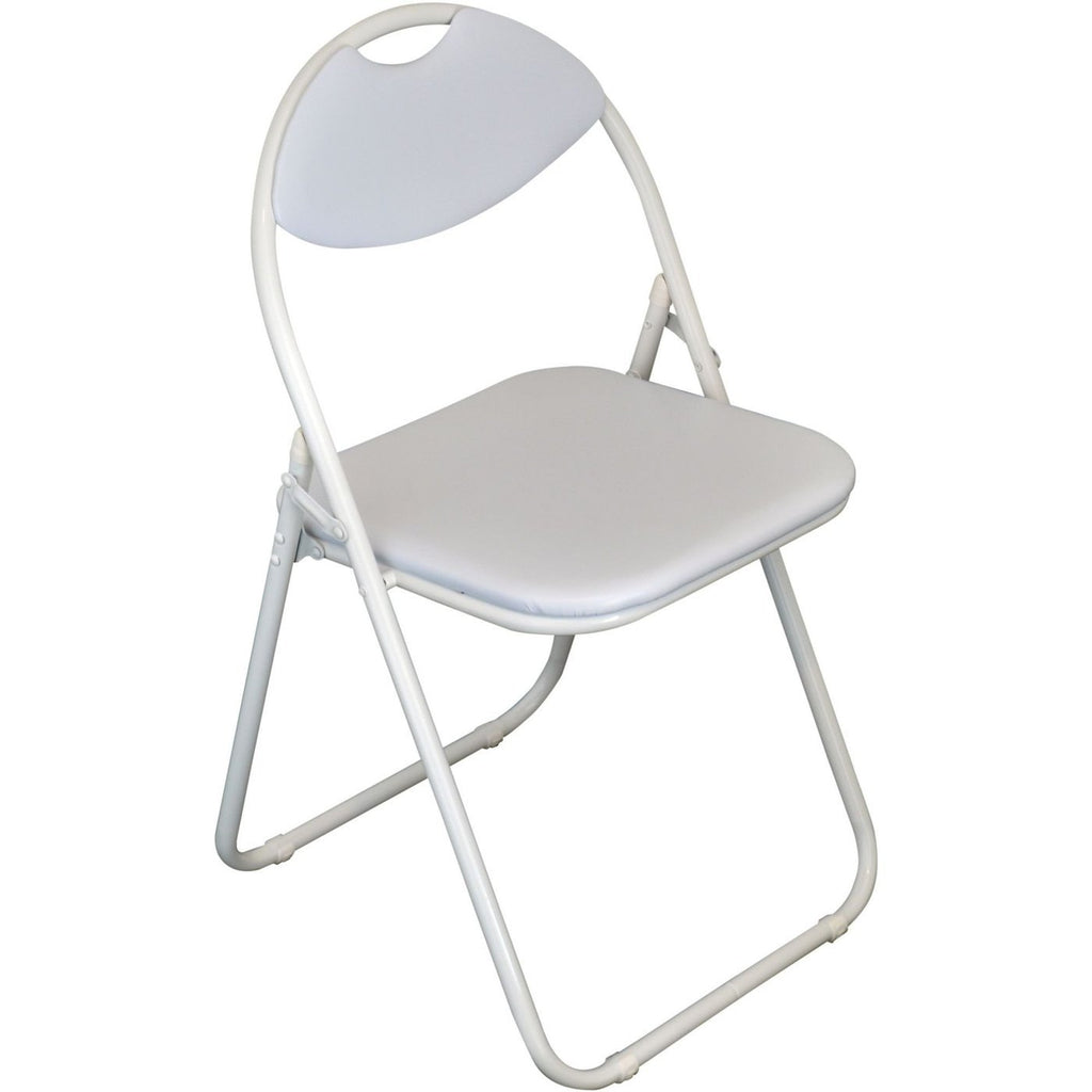Harbour Housewares Padded Folding Chair - White Seat and Frame