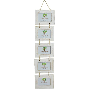 Nicola Spring Quintuple Picture Wooden Hanging Picture Frame - 6x4 - White