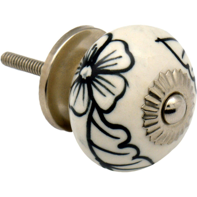 Nicola Spring Floral Ceramic Door Knob and Handle - Black and White Blooms