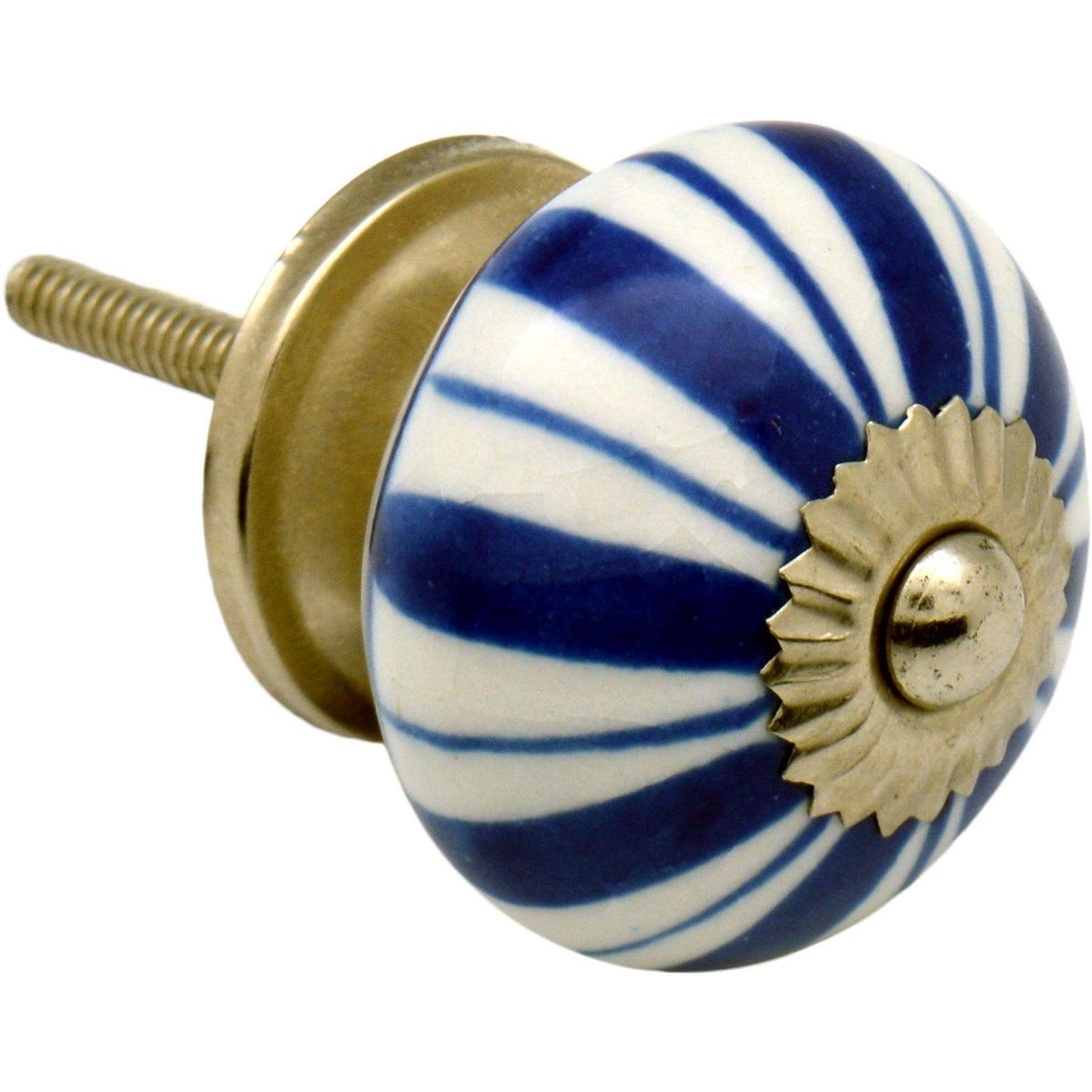 Nicola Spring Floral Ceramic Door Knob and Handle - Dark Blue Flower Lines