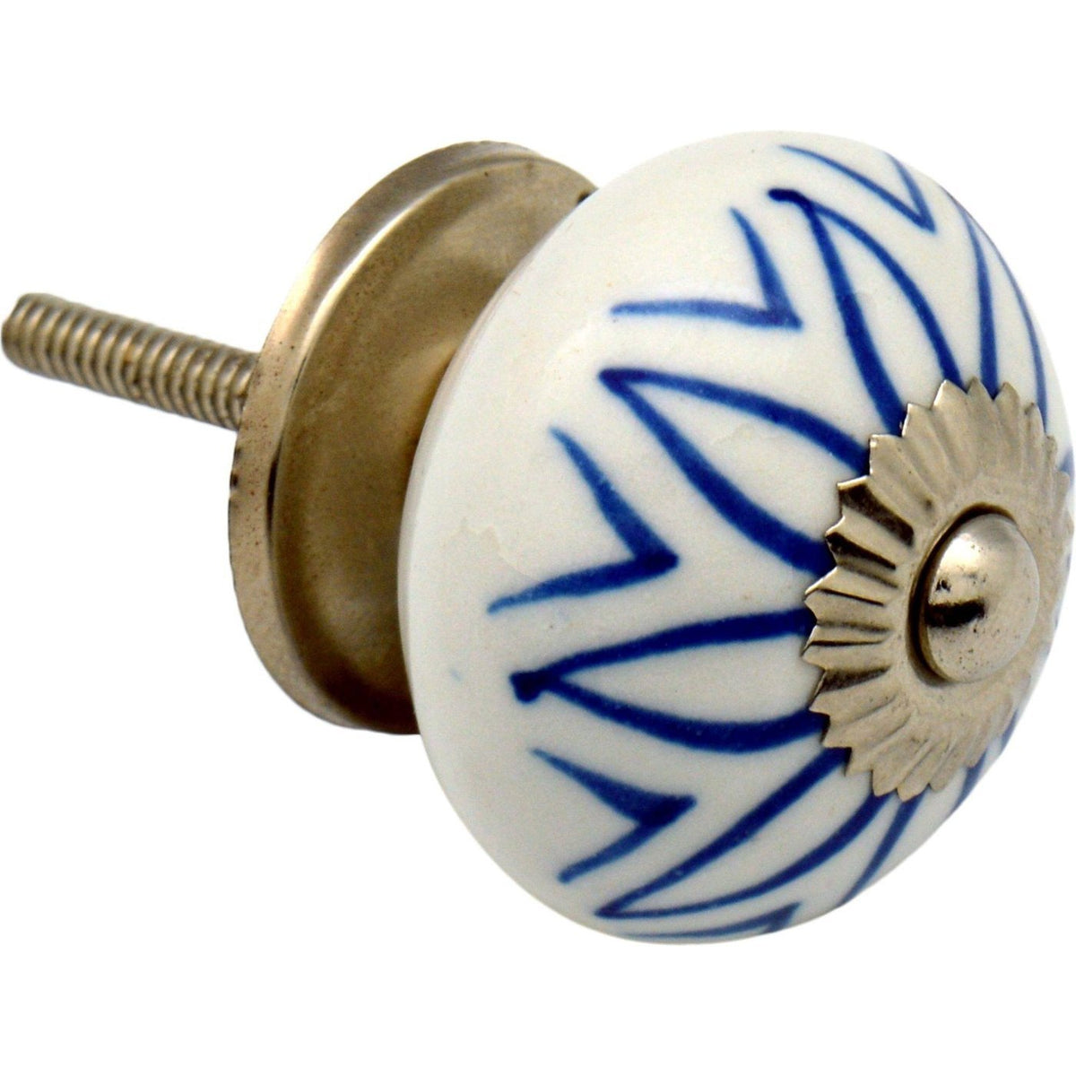 Nicola Spring Floral Ceramic Door Knob and Handle - Light Blue Flower Lines