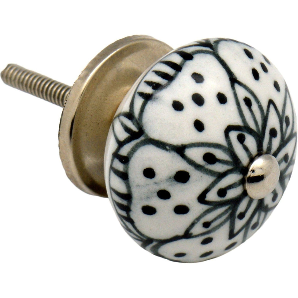 Nicola Spring Floral Ceramic Door Knob and Handle - Black and White Sunflower