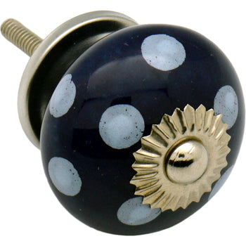 Nicola Spring Ceramic Polka Dot Door Knob and Handle - Dark and Light Blue