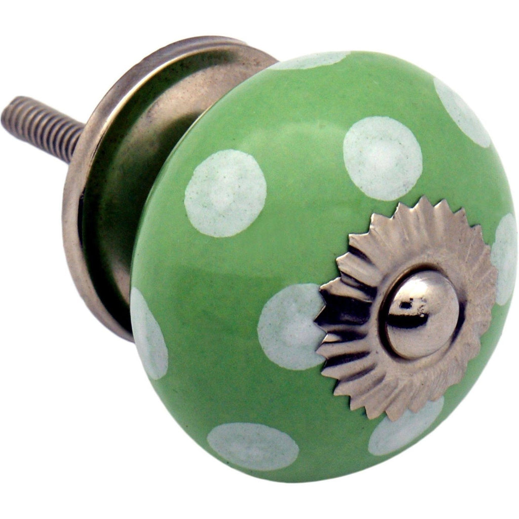 Nicola Spring Ceramic Polka Dot Door Knob and Handle - Green and White