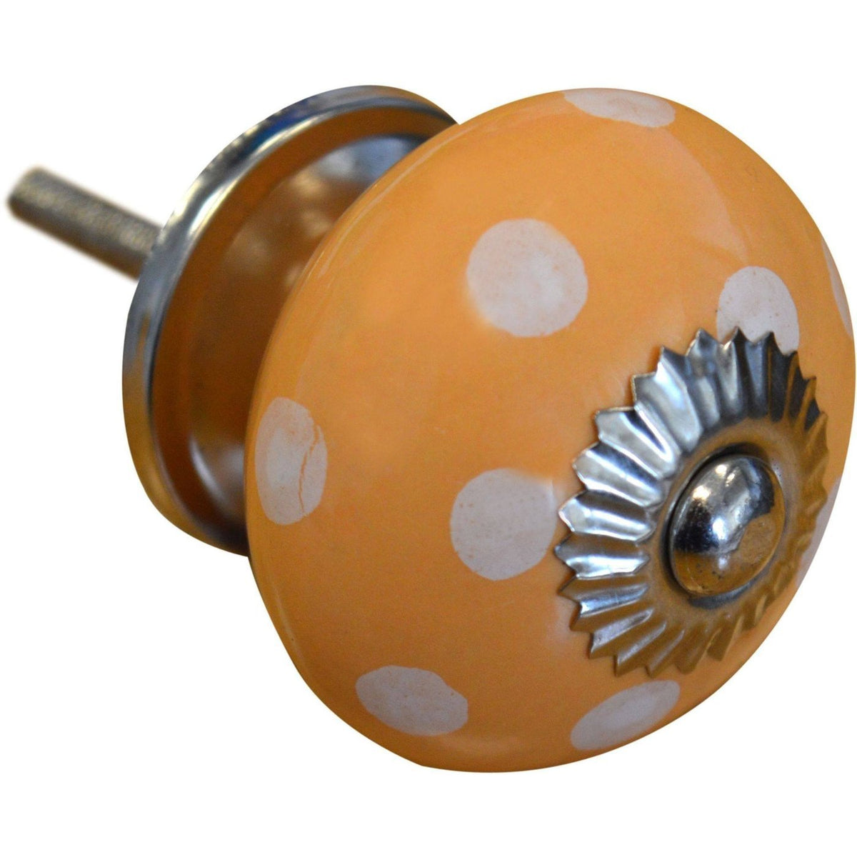 Nicola Spring Ceramic Polka Dot Door Knob and Handle - Orange and White