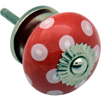 Nicola Spring Ceramic Polka Dot Door Knob and Handle - Red and White