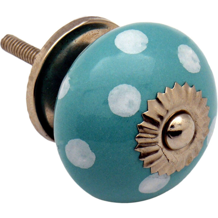 Nicola Spring Ceramic Polka Dot Door Knob and Handle - Turquoise and White