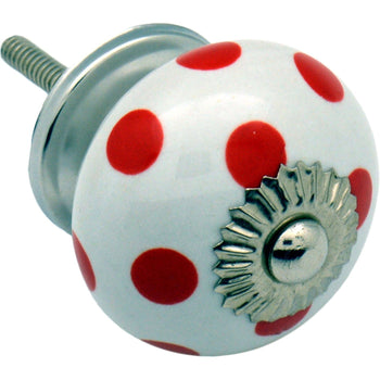 Nicola Spring Ceramic Polka Dot Door Knob and Handle - White and Red