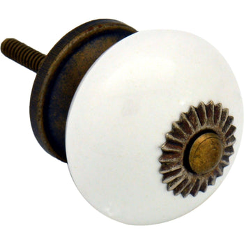 Nicola Spring Ceramic Door Knob and Handle - White