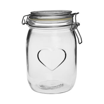 Nicola Spring Heart Glass Storage Jar - 1000ml