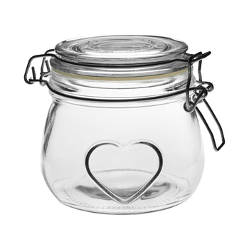 Nicola Spring Heart Glass Storage Jar - 500ml