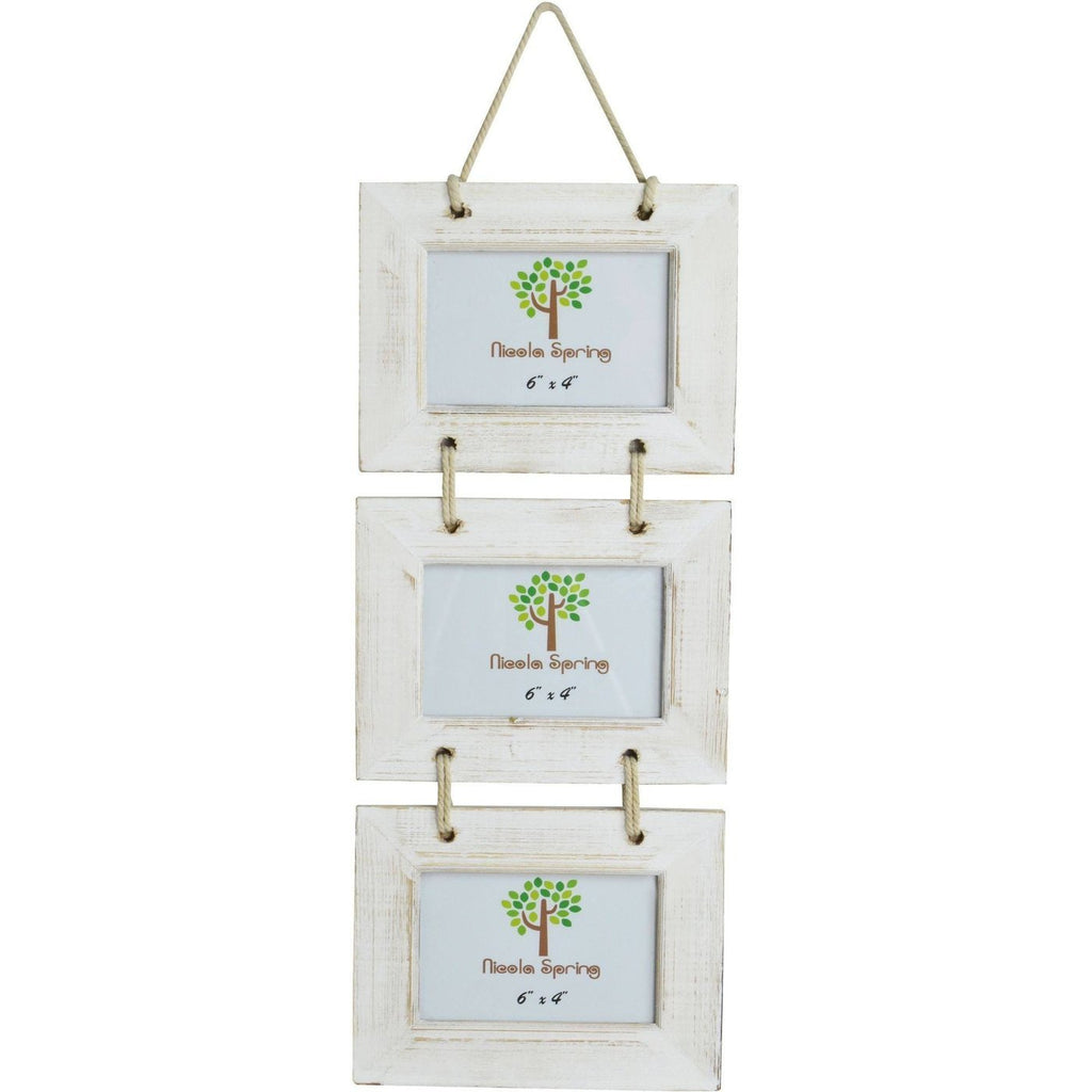 Nicola Spring Triple Picture Wooden Hanging Frame - 6x4 - White