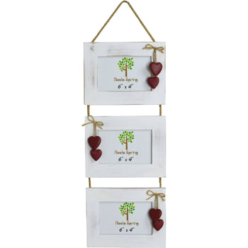 Nicola Spring Triple Wooden Hanging Picture Frame - 6x4 - White with Red Hearts