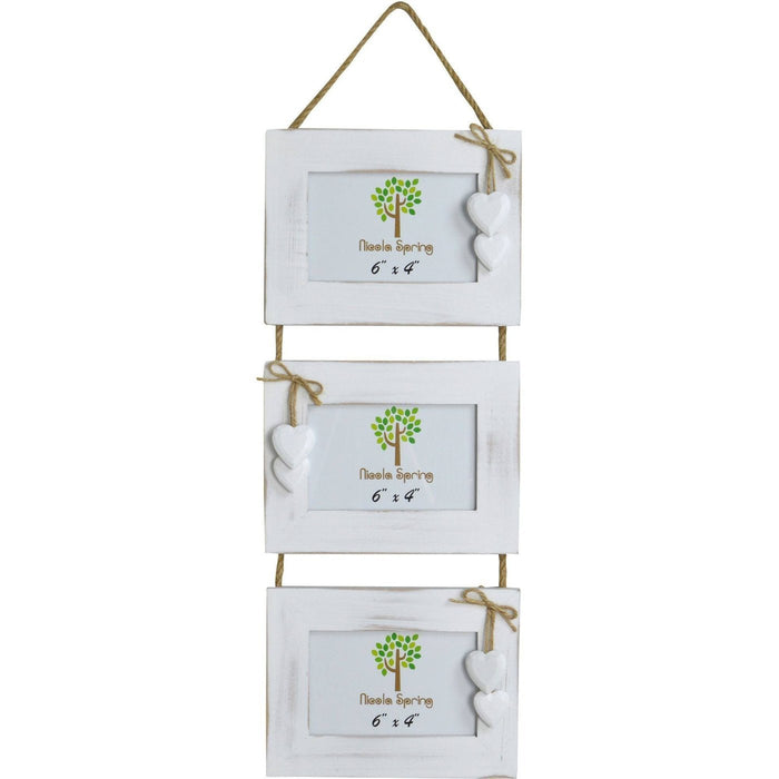 Nicola Spring Triple Wooden Hanging Picture Frame - 6x4 - White with White Hearts