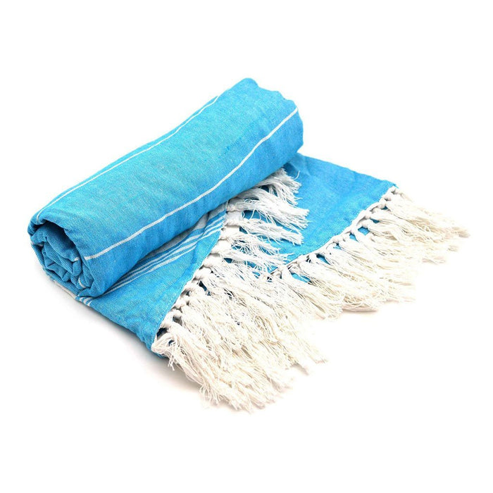 Nicola Spring Round Turkish Beach Towel - Light Blue