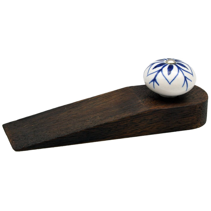 Nicola Spring Traditional Vintage Wooden Door Stop - Blue Design