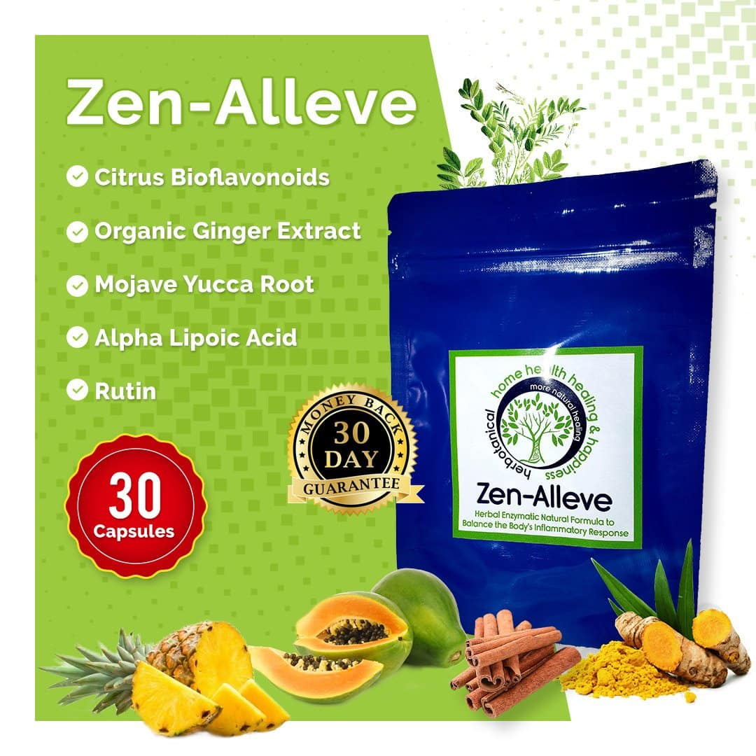 Zen-Alleve 30 Capsules - Natural Relief For Osteoarthritis, Fibromyalgia, Chronic Pain and Muscle Soreness - More Natural Healing