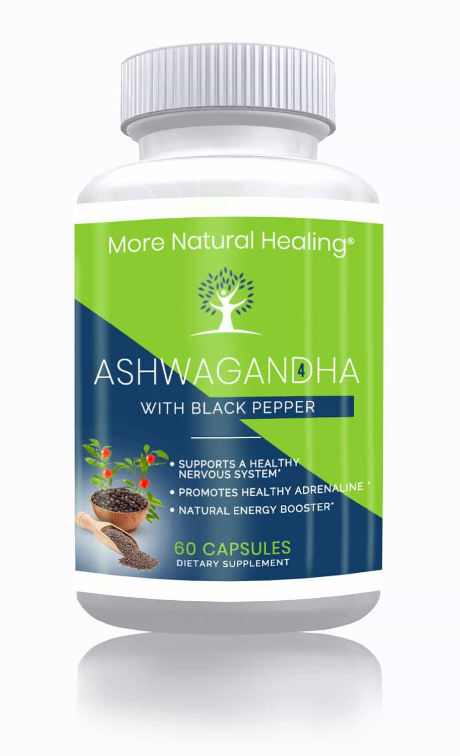 Organic Ashwagandha with Black Pepper Natural Energy Booster and Stress Relief Supplement - More Natural Healing