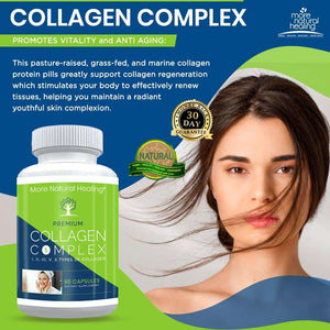 Collagen Complex Vitality and Anti Aging Collagen Peptides Supplement Capsules - More Natural Healing