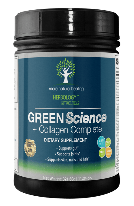 Green Science + Collagen Complete Superfood Green Drink - NON-GMO, Organic Ingredients - More Natural Healing